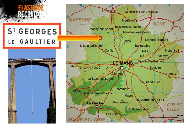 Route pour sauter à l'élastique à St Georges le Gaultier
